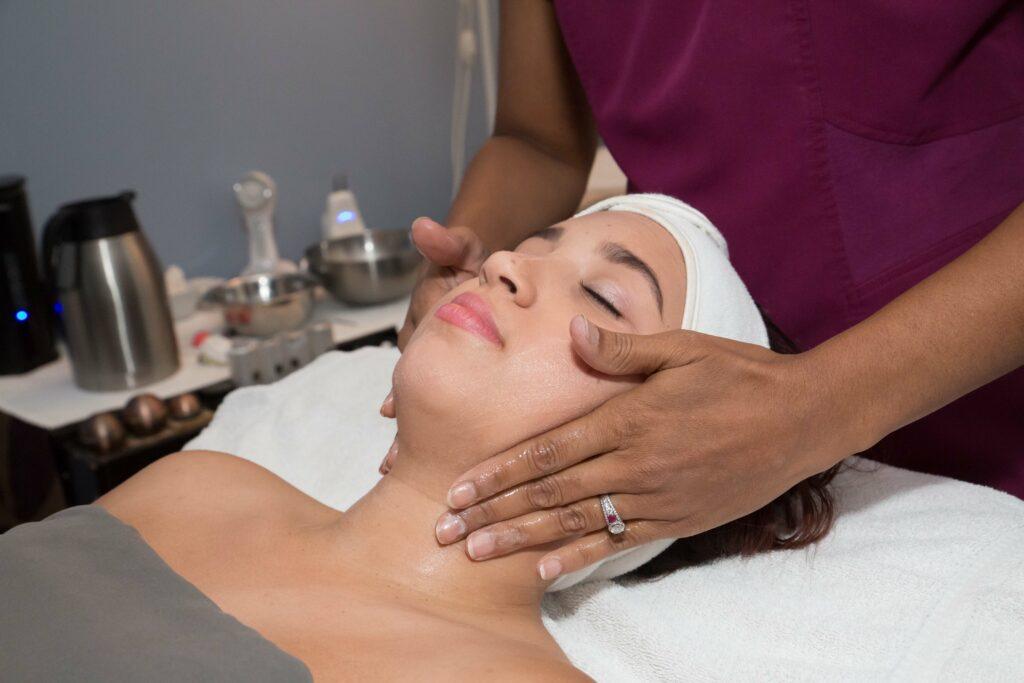 Woman getting facial skin care